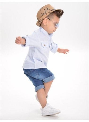 Riccotarz Erkek Çocuk Hello Boy Şapkalı Kot Şortlu Takım Mavi